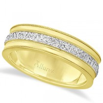 Carved Men's Wedding Ring Diamond Cut Band 18k Two Tone Gold (7 mm)