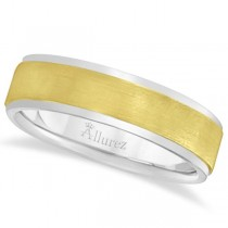 Comfort-Fit  Two-Tone Carved Wedding Band in 14k White & Yellow Gold (7mm)