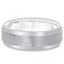 Comfort-Fit Carved Wedding Band in 14k White Gold (7mm)