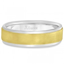 Comfort-Fit  Two-Tone Carved Wedding Band (7mm)