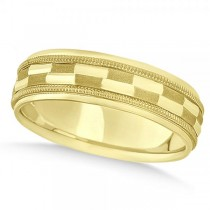 Carved Checkered Wedding Band Plain Metal 14k Yellow Gold 7mm