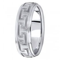 Men's Diamond Cut Carved Palladium Wedding Band (7mm)