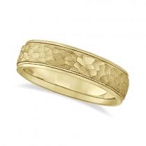 Mens Satin Hammer Finish Inlaid Wedding Band 18k Yellow Gold (5mm)