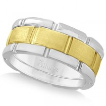 Comfort-Fit Two-Tone Wedding Band in 14k White & Yellow Gold (8.5mm)