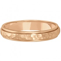 Satin Hammered Finished Carved Wedding Ring Band 14k Rose Gold (4mm)