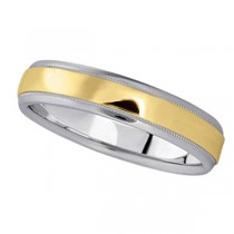 Carved Two-Tone Wedding Band in 14k White & Yellow Gold (4mm)
