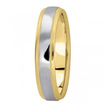 Carved Two-Tone Wedding Band (4mm)