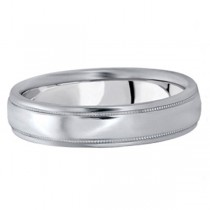 Men's Carved Wedding Band in 14k White Gold (5mm)