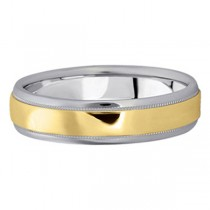 Men's Carved Two-Tone Wedding Band (5mm)