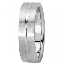 Men's Carved Flat Wedding Band in 18k White Gold (6mm)