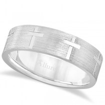 Carved Wedding Band With Crosses in 14k White Gold (7mm)