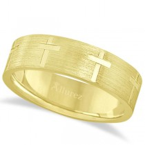 Carved Wedding Band With Crosses in 14k Yellow Gold (7mm)