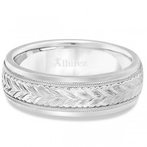 Hand Engraved Wedding Band Carved Ring in 14k White Gold (4.5mm)