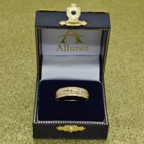 Hand Engraved Wedding Band Carved Ring in 14k Yellow Gold (4.5mm)