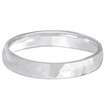 Carved Hammered Finish Wedding Ring Band Palladium (3mm)