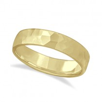 Men's Hammered Finished Carved Band Wedding Ring 14k Yellow Gold (5mm)