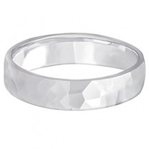 Men's Hammered Finished Carved Band Wedding Ring Palladium (5mm)