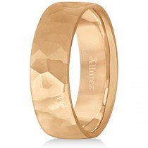 Men's Hammered Finished Carved Band Wedding Ring 14k Rose Gold (7mm)