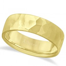 Men's Hammered Finished Carved Band Wedding Ring 14k Yellow Gold (7mm)
