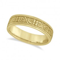 Mens Carved Wedding Band Heart Shape Design 14k Yellow Gold (5.5mm)