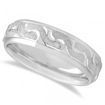 Men's Diamond Cut Carved Wedding Band in 18k White Gold (6mm)