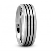 Triple Line Satin Mens Wedding Band Ring 14K White Gold