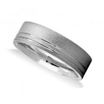 Double Line Satin & Polished Mens Wedding Band Ring 14K White Gold