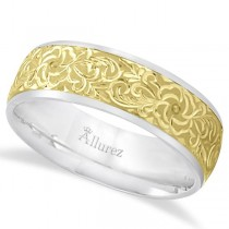 Hand-Engraved Flower Wedding Ring Wide Band 18k Two Tone Gold (7mm)