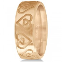 Ultra-Fancy Embossed Twin Heart Wedding Band in 18k Rose Gold