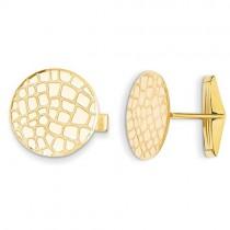 Pebble Design Cuff Links Plain Metal 14k Yellow Gold