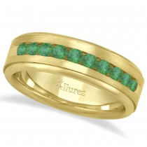 Men's Channel Set Emerald Ring Wedding Band 18k Yellow Gold (0.25ct)