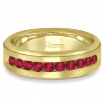 Men's Channel Set Ruby Ring Wedding Band 14k Yellow Gold (0.25ct)