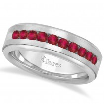 Men's Channel Set Ruby Ring Wedding Band 18k White Gold (0.25ct)