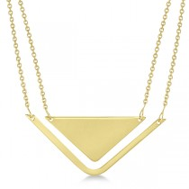 Adjustable Triangle Pendant Layered Necklace 14k Yellow Gold