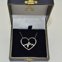 Heartbeat in Heart Pendant Chain Necklace Plain Metal 14k White Gold