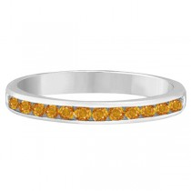 Citrine Channel-Set Semi-Eternity Ring Band 14k White Gold (0.40ct)