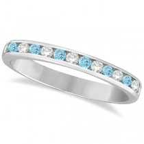 Aquamarine & Diamond Semi-Eternity Channel Ring 14k White Gold (0.40ct)