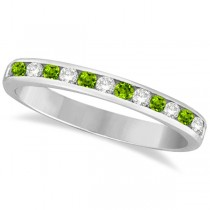 Peridot & Diamond Semi-Eternity Channel Ring 14k Yellow Gold (0.40ct)