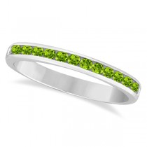 Peridot Channel-Set Semi-Eternity Ring Band 14k White Gold (0.40ct)