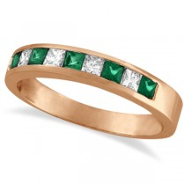 Princess-Cut Diamond & Emerald Ring Band 14k Rose Gold (0.73ct)