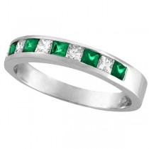 Princess-Cut Diamond & Emerald Ring Band 14k White Gold (0.73ct)
