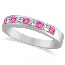 Princess Channel-Set Diamond & Pink Sapphire Ring Band 14k White Gold