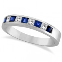 Princess-Cut Channel-Set Diamond and Sapphire Ring Band 14k White Gold