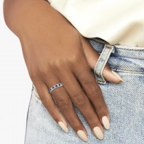 Princess-Cut Channel-Set Diamond & Sapphire Ring Band 14k White Gold