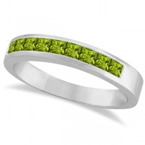 Princess-Cut Channel-Set Stackable Peridot Ring 14k White Gold 1.00ct