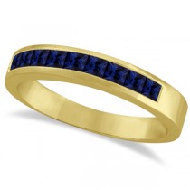 Princess-Cut Channel-Set Blue Sapphire Ring Band 14k Yellow Gold 1.00ct