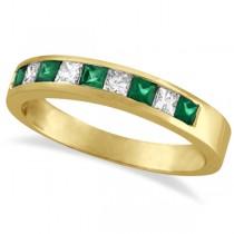 Princess-Cut Diamond & Emerald Ring Band 14k Yellow Gold (0.73ct)