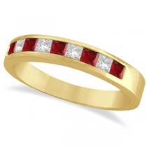 Princess-Cut Channel-Set Diamond and Garnet Ring Band 14k Yellow Gold