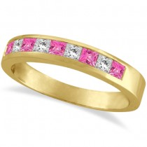 Princess Channel-Set Diamond & Pink Sapphire Ring Band 14k Yellow Gold