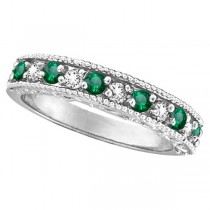 Emerald & Diamond Ring Anniversary Band 14k White Gold (0.30ct)